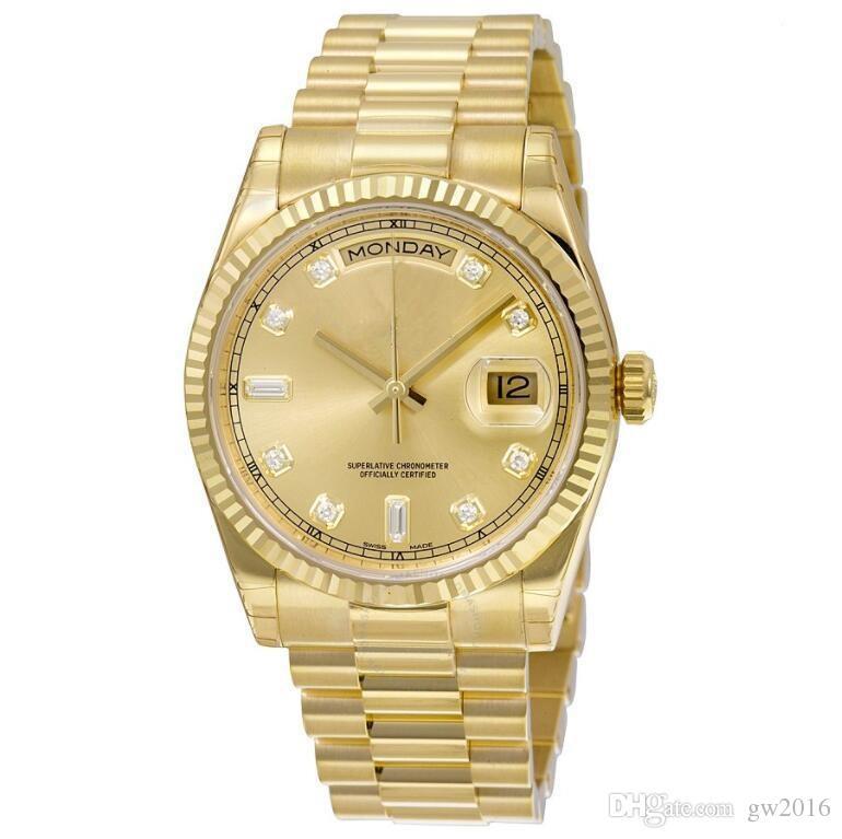 Nova alta qualidade relógio por atacado DAY DATE deslizamento mecânico suave 40 MM mens carvalhos reais relógio pulseira de aço Inoxidável pulseira de relógio de Pulso