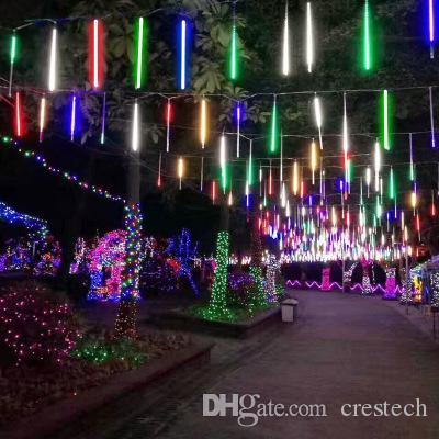 8 / 10Tube de Navidad Luz de Navidad secuencia del LED LED Lluvia de meteoros Lluvia Partido Decoración Farola al aire libre de la lámpara de Halloween Garland CRESTECH