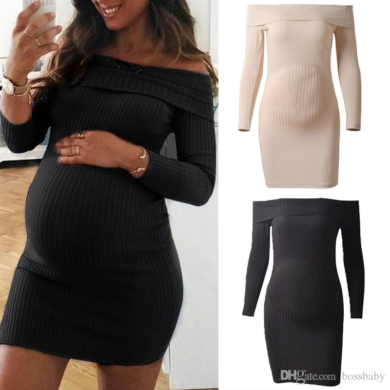المرأة الصلبة الأمومة اللباس Shoulderless الفساتين كم طويل بوتيك فساتين الحوامل اللباس للمرأة السيدات 060407