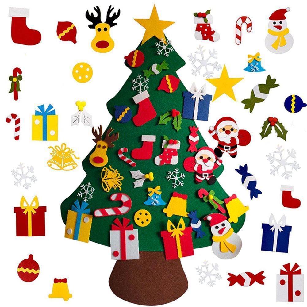DIY войлочные елки детей игрушки Новогодние подарки Искусственное дерево Гобелен украшения Елочные украшение для дома