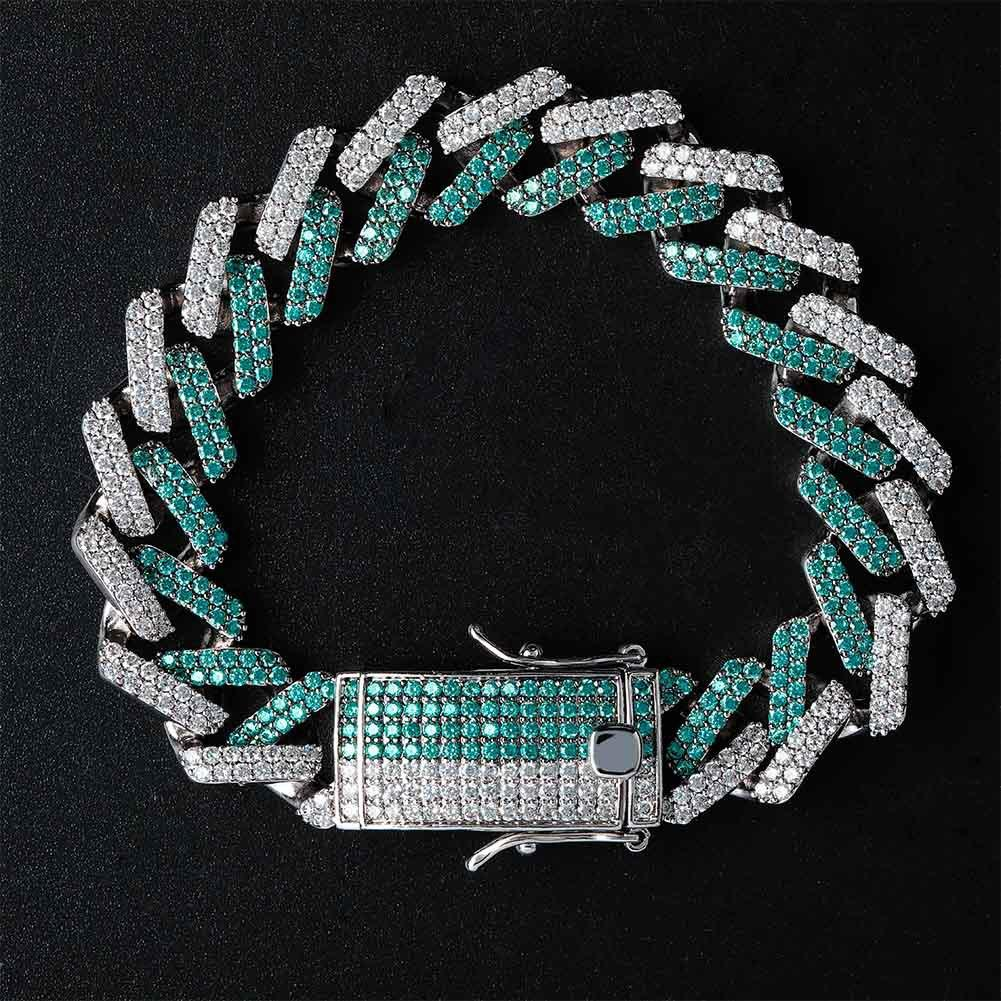 Top Quality White Gold White & Green CZ Cubic Zirconia Iced Out Mens Cuban Link Chain Bracelet Hip Hop Personalized Rapper Jewelry Gifts Men