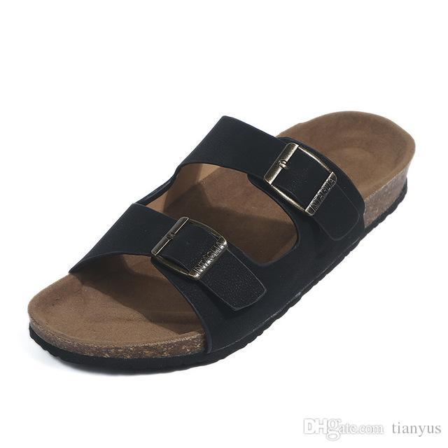 Luxury Women leather Metal Belt Buckle Sandals Design Open Toe Outdoor Summer Beach Flip-flop Flat Slippers Big Size Q-151