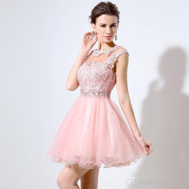 Abiti Junior grado 8 Prom 2020 Cute Pink breve abiti da cocktail A-Line Mini merletto borda Tulle cap maniche Bateau Abiti da sposa