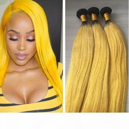3 Pacchetti Ombre estensione dei capelli di giallo Ombre trama dei capelli brasiliani tesse diritto serico dei capelli Virgin all'ingrosso