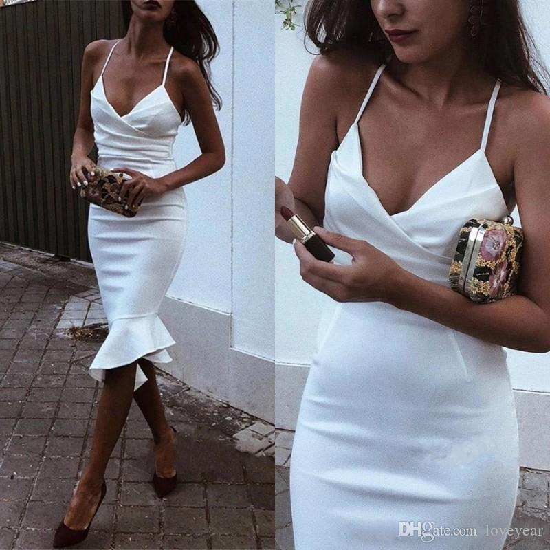 Sexy Spaghetti Straps Prom Dresses Ruffles Knee Length Elastic Satin Mermaid Short Cocktail Dress Formal Evening Party Gowns