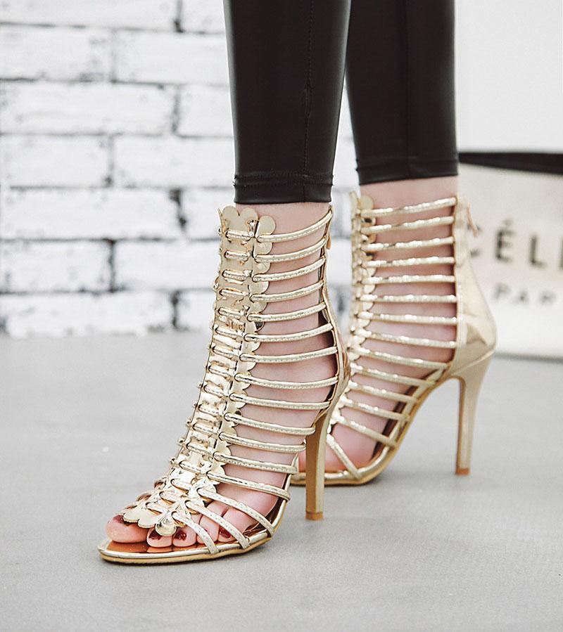 Vente-Designer Hot Sandales d'or Feuille d'argent Strappy hauts talons 11cm Gladiator sandales femmes Escarpins chausseurs Chaussures Mode