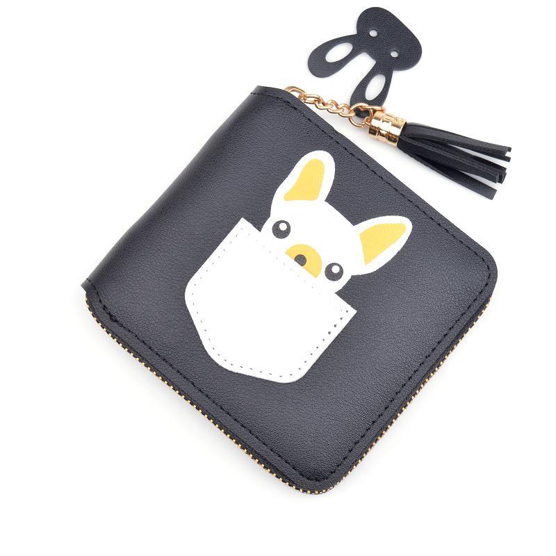 New curta feminina carteira zipper coreana 6 cor pu bolsa de moedas aluna mini-bonito dos desenhos animados borla carteira