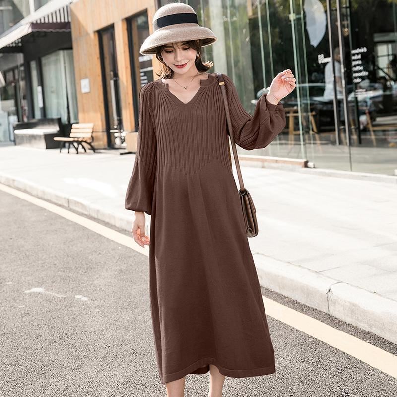 Katı Renk Hamile Kadınlar Örme Temel Elbise Uzun Fener Kollu V Yaka Analık Gevşek Elbise Artı Boyutu Emmpire Örme Elbise