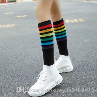 20190414 Calcetines de algodón con rayas, calcetines de becerro de ocio.