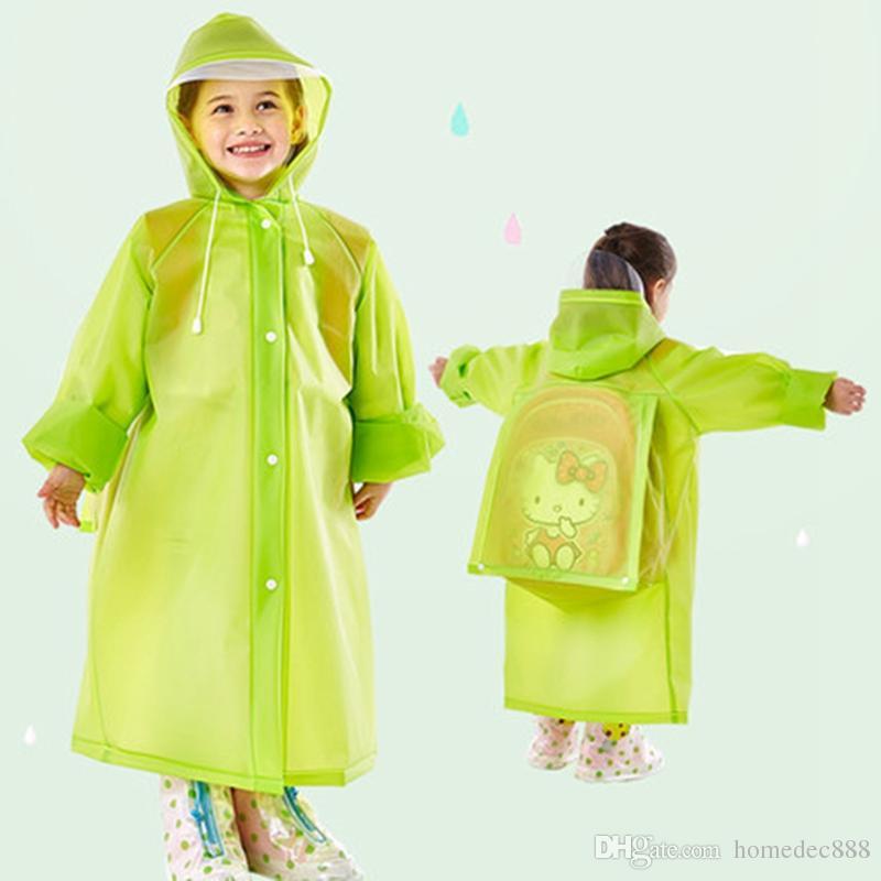 Moda Saco de Escola Com Capuz capa de Chuva EVA Capa de Chuva Crianças Poncho Crianças Rainwear Capa de Chuva de Viagem 5 Cores À Prova D 'Água Desgaste da Chuva DH0737
