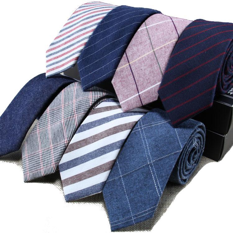 Mens cravate étroite Version coton lin cravate Casual Male Business Tenue de soirée travail professionnel Vérifiez Boyfriend Père cadeau