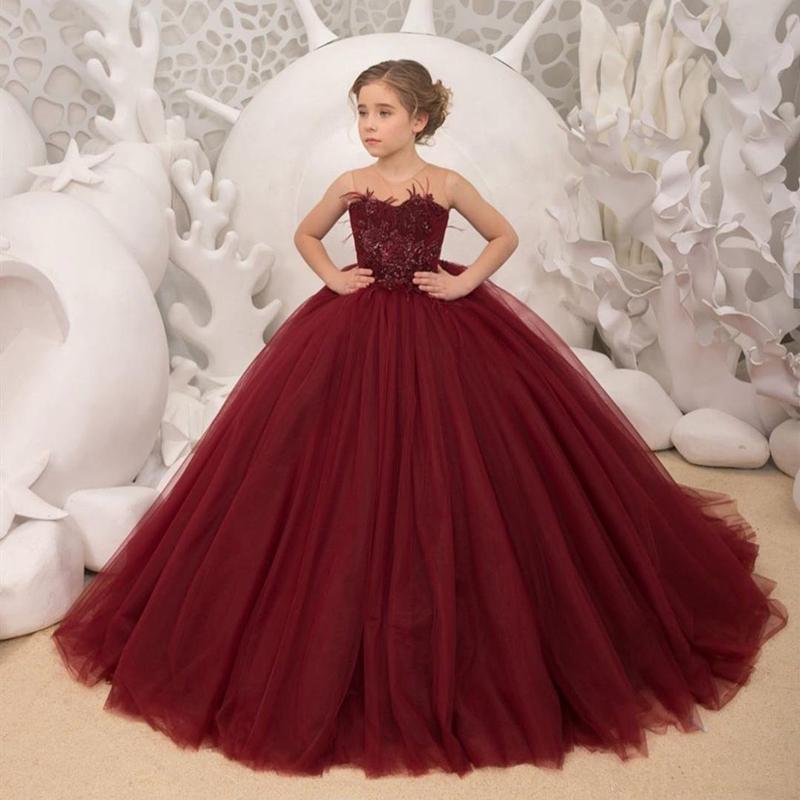 Burgundy Flower Girl Платья 2020 Первое Святое Причастие Платья для девочек Бальное платье Свадьба Платье для вечеринки Детские Вечерние Платье выпускного вечера
