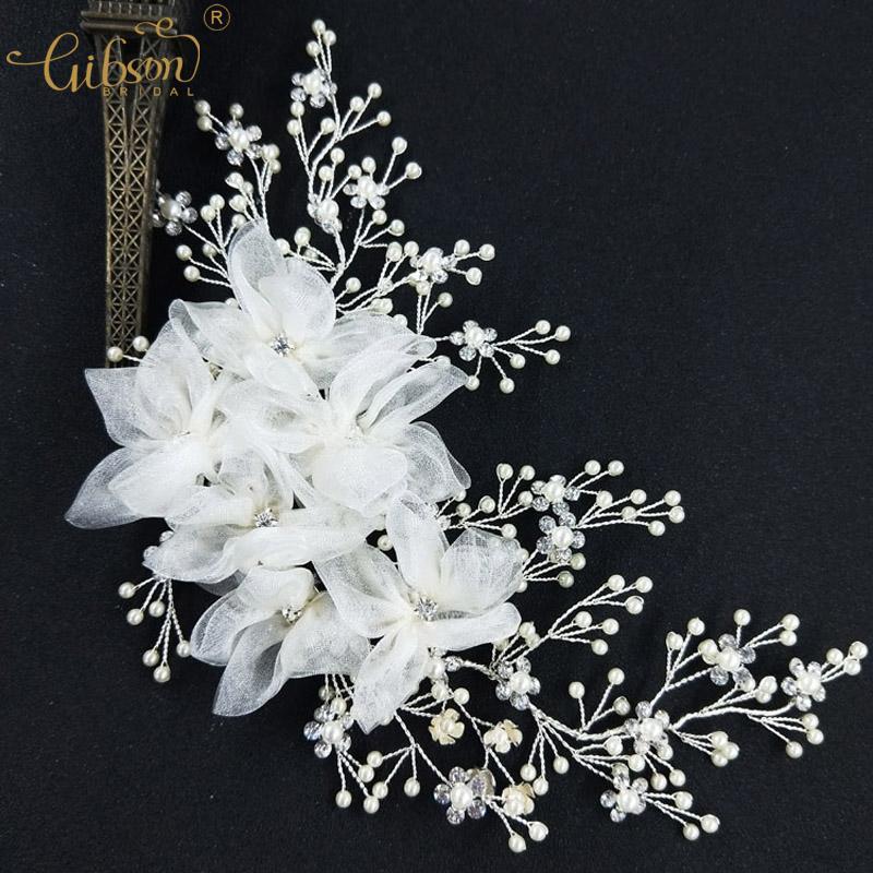 Wedding Silver Barrette Bridal Dress Headpiece Pearl Rhinestone Barrettes Flower Hair Clip Valentines Day Accessories