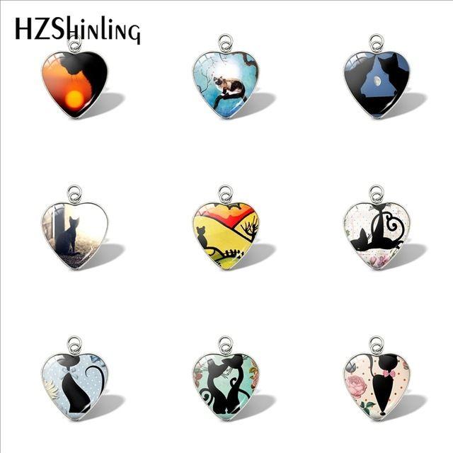 2019 New Cat Silhouette Heart Pendant Car Ladies Wallet Charms Black Cat Pendants Glass Jewelry Siamese Cat Jewelry Murano Glass Heart Neckl