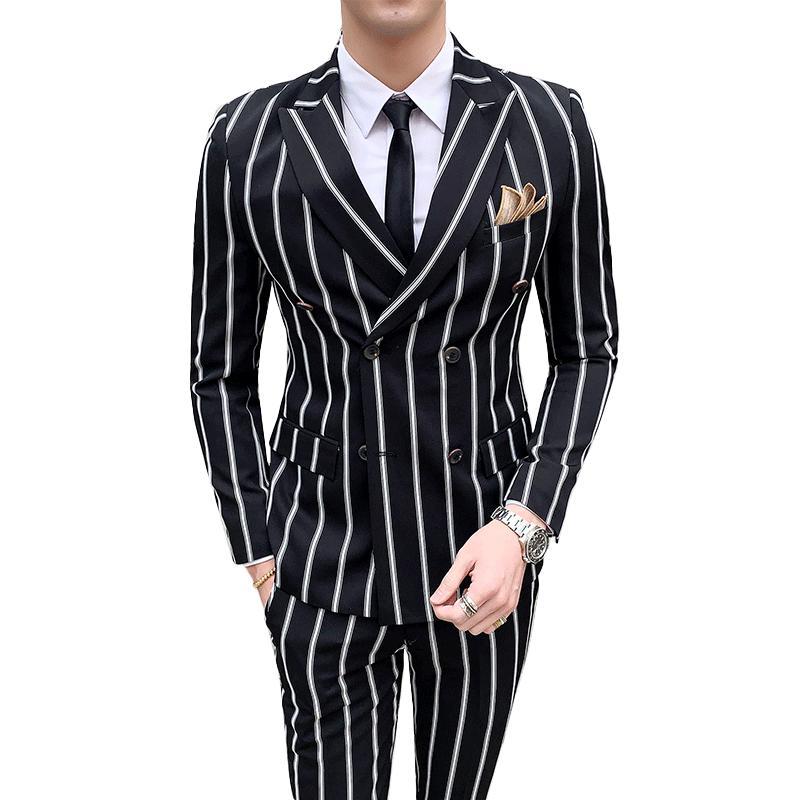 men's striped wedding casual tuxedo men's British slim suit 2pcs quality business social club suit Costume homme