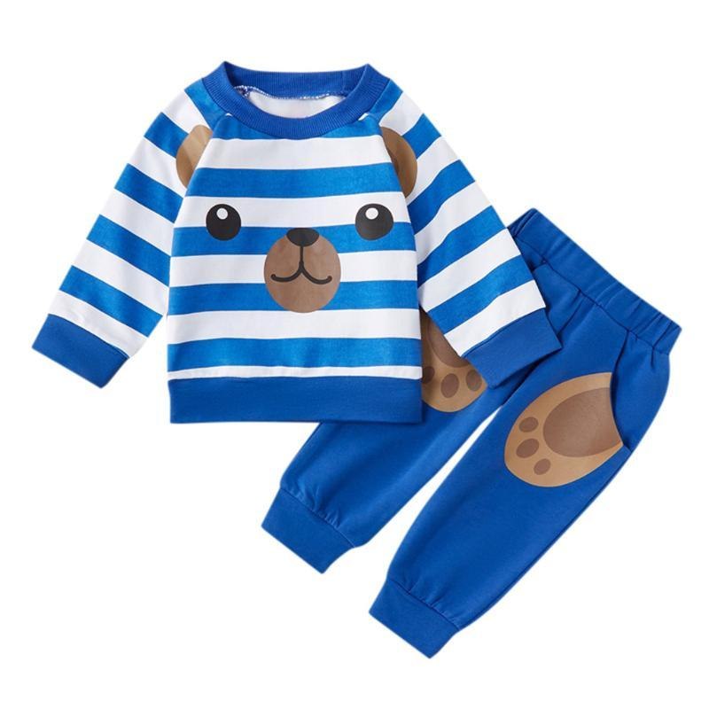 KANCOOLD baby long-sleeved striped boy cartoon bear print top sweater + bear claw print pocket trousers two-piece suit