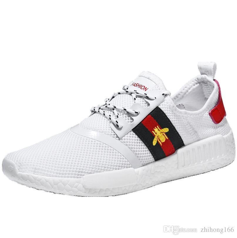 Ucuz Lüks Tasarımcı Çift Sneakers Erkek Kadın Örgü Rahat Ayakkabılar Ace Arı Nakış Stripes Ayakkabı Spor Eğitmenler Chaussures Hommes Dökün