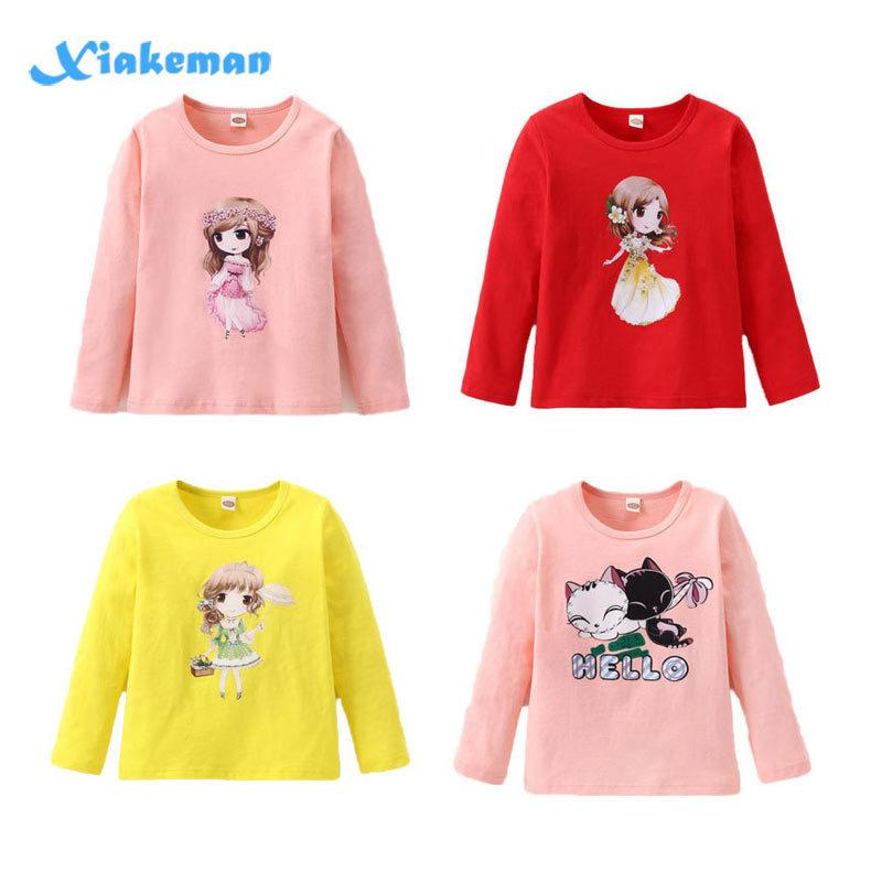 Cute Girls T-shirt 2019 Long Sleeve Cotton Shirts For Girl Cartoon Kids Tops Children Tees Teenager School Clothing 7style 2-10t Y190516