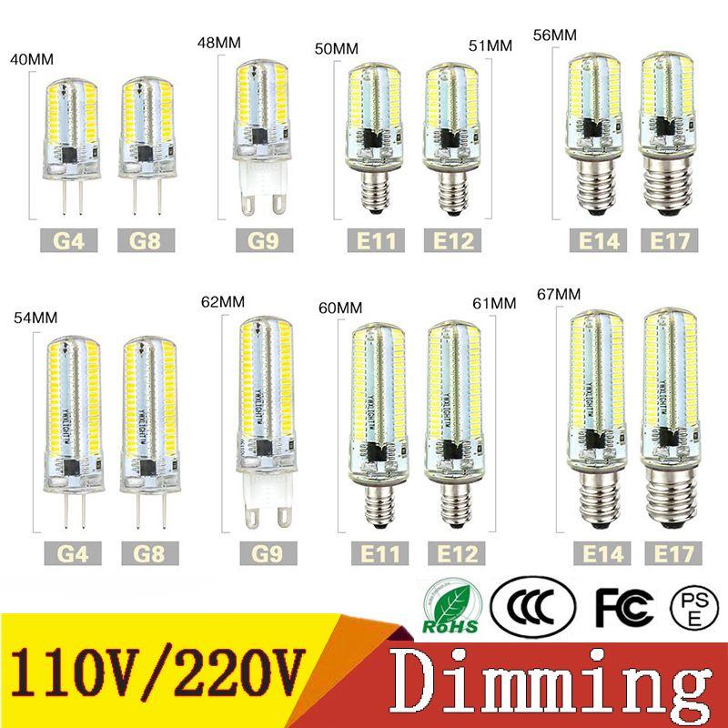 Dim Led Işıklar SMD 3014 Led Ampul G4 G8 G9 E11 E12 14 E17 Kristal Silikon Spotlight Ampüller 110V 220V 64 152 Ledler