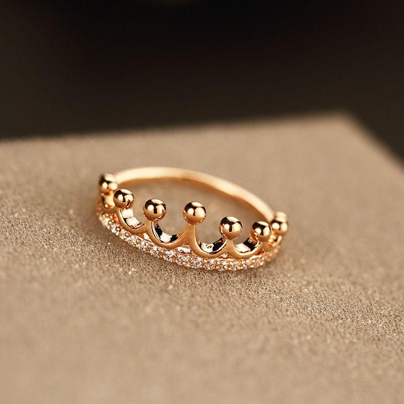 Высокого качество розового золота кольца для женщин горного хрусталя формы короны пальца кольца с подарочной коробкой R00060
