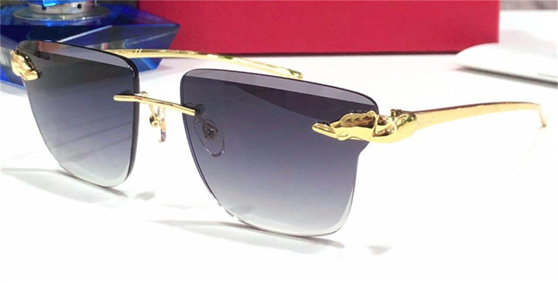 New Square Panthere Parource Fram Немечальный металлический дизайн UV400 вырезанный объектив рама солнцезащитные очки мода ретро животных виски стиль хрусталь объектив WXCAU