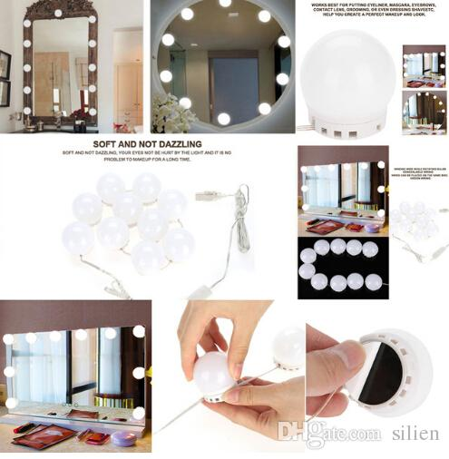 10 Bulbs Vanity LED Makeup Mirror Lights Dimmable Bulb Warm/Cold Tones Dressing Mirror Decorative LED Bulbs Kit Makeup Accessory