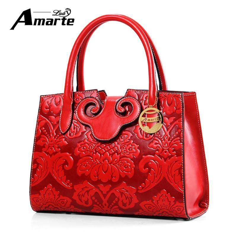 Amarte New Hot Chinese Style Embossed Woman Bags Women's Shoulder Bag Solid Bag Women High Quality PU Leather Ladies Handbags