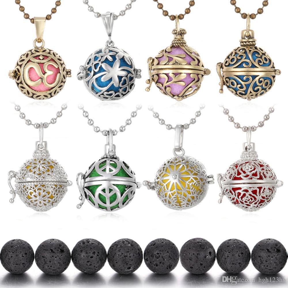 Arbre de bijoux aromathérapie de vie Huile Essentielle Diffuseur Collier Lava Stone Angel Boule Caller Médaillon pour Bijoux Femmes enceintes