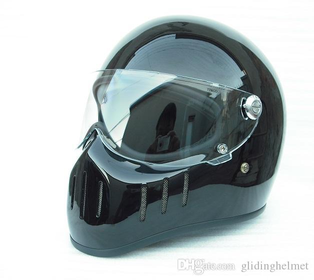 FPR full Face Motorcycle Vintage helmet with clear visor pig mounth for dirt bike Cafe racer casco mocular custom motocross cycling