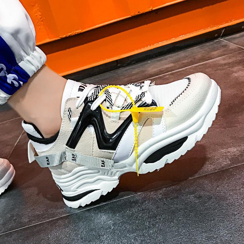 Şık Kadınlar Günlük Ayakkabılar Aşıklar Deri baba Platformu Chunky Sneakers Harajuku Düz Kalın Sole Tenis Kama Beyaz Sepet Yürüyüş Y200108