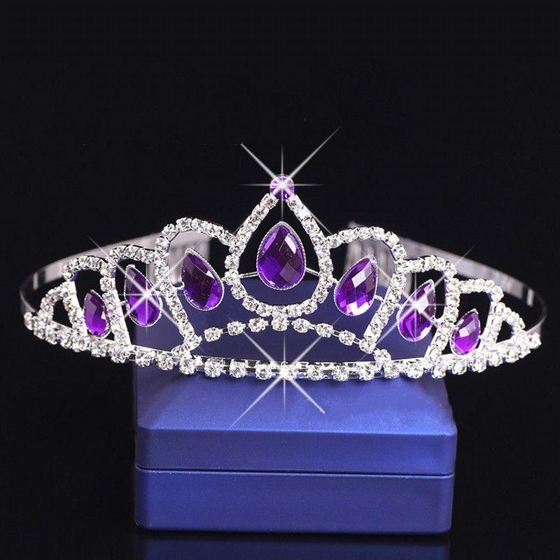 Headband Bridal Flower Girl Purple Crystal Headband Tiara