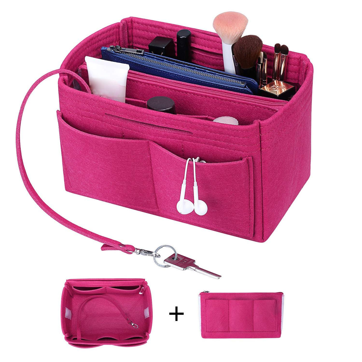 Purse Organizer Insert Shaper Felt Bag in Bag Handbag Organizer with Zipper Fit all kinds of Tote/purses Cosmetic Toiletry Bags