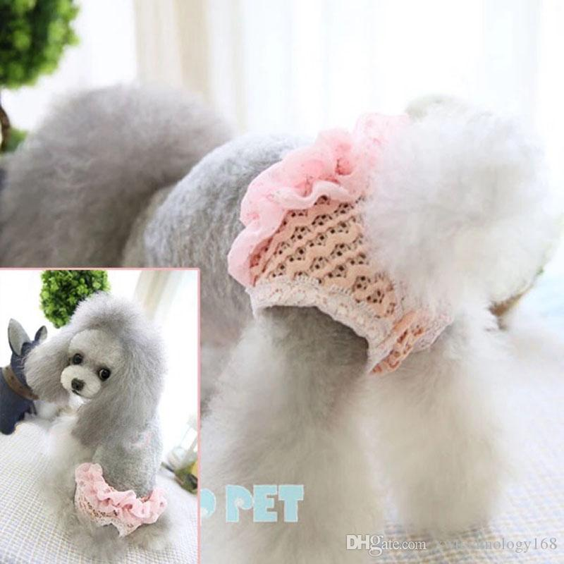 Pets Dog Diapers Nappies Pets Underwear Puppy Diaper Chiffon Pants For Dog Diapers Washable Physiological Pants Blue Pink 1PCS