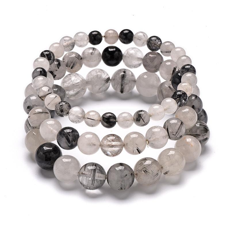 Натуральный черный волос Кристалл браслет природных Черный турмалин Quart драгоценных камней рук Струнный мужчины и женщины браслет