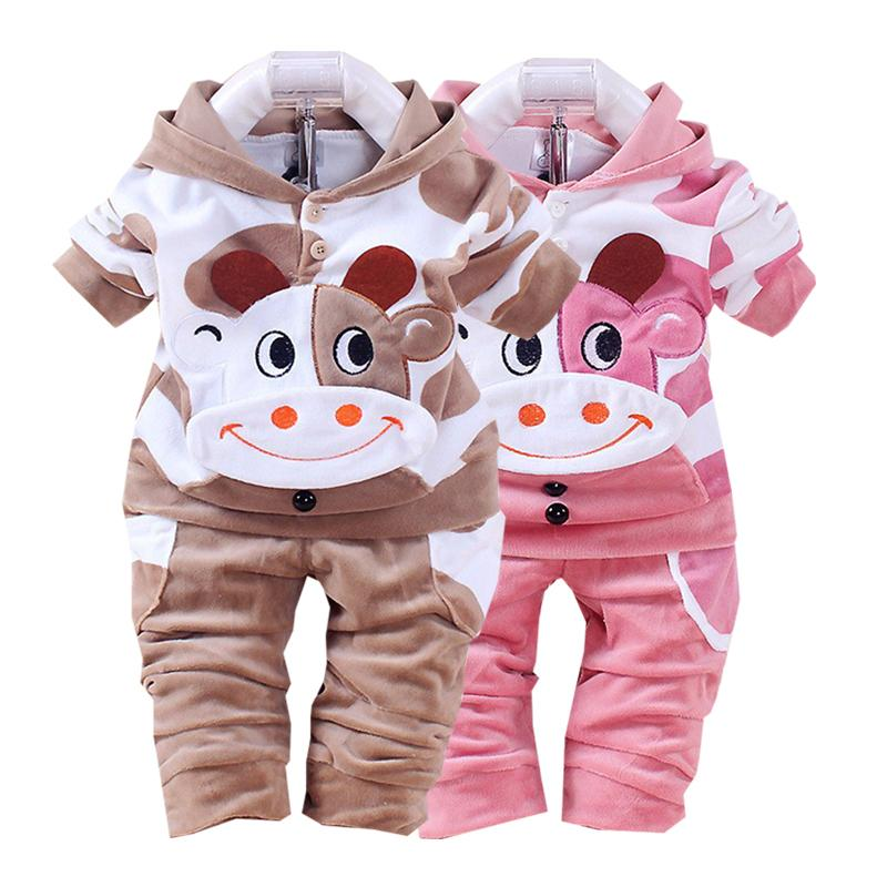 Boy Girls Clothes Cartoon Printing Plus Velvet Warm Hooded Jacket Pants Two Sets 0-2 Y Baby Quality Clothing 2020 Hot Sale