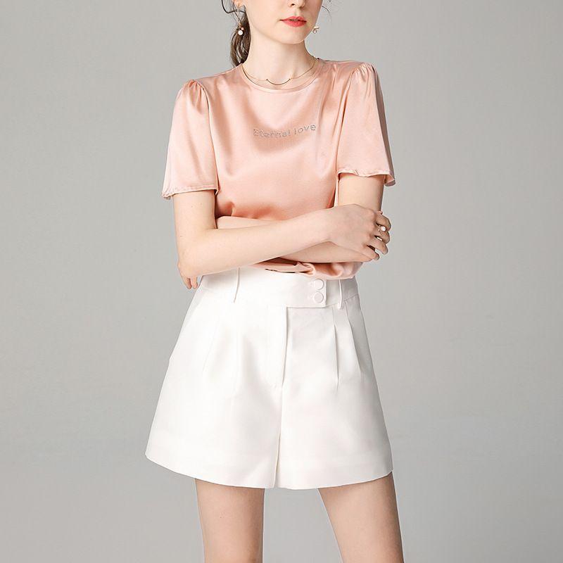 Kısa Pantolon Yüksek Waisted Pantolon Kadınlar Beyaz Şort Leke Asetat Siyah Mini Şort Seksi Sokak Modası Kore Etek Yumuşak
