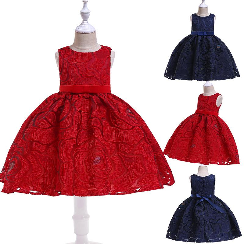 Cotton Blended Princess Dress Lace Tutu Skirt Jumper Knee-Length Dress Pleated Style Formal Wedding Party Ball Gown