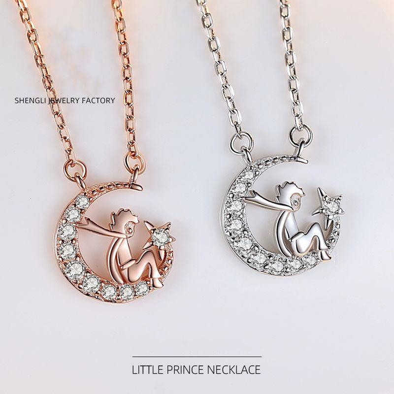 jóias dom populares S925 prata pequeno príncipe colar feminino cadeia clavícula coreano estudante personalidade projeto temperamento simples