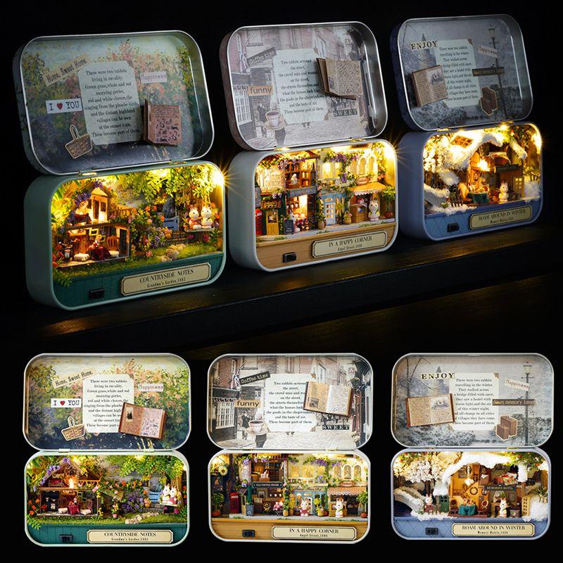 Teatro de la caja de muñecas miniatura de los muebles de juguete en miniatura de bricolaje casa de muñeca Muebles LED Juguetes de entretiempo de niños regalo de cumpleaños V5 MX200414