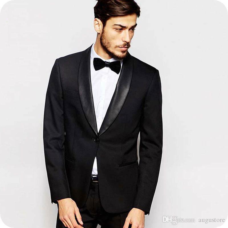 Italienisch Schwarz-Bräutigam-Smoking Mann Blazer Männer Anzüge für Hochzeit Satin-Schal-Revers 2Piece (Mantel + Pants) Slim Fit Terno Masculino Trajes de hombre