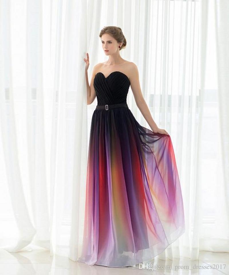 New Elie Saab Evening Prom Vestidos Belt Sem Costas, Gradiente de cor preta Chiffon ocasião formal Partido vestidos reais fotos mais sexy Tamanho