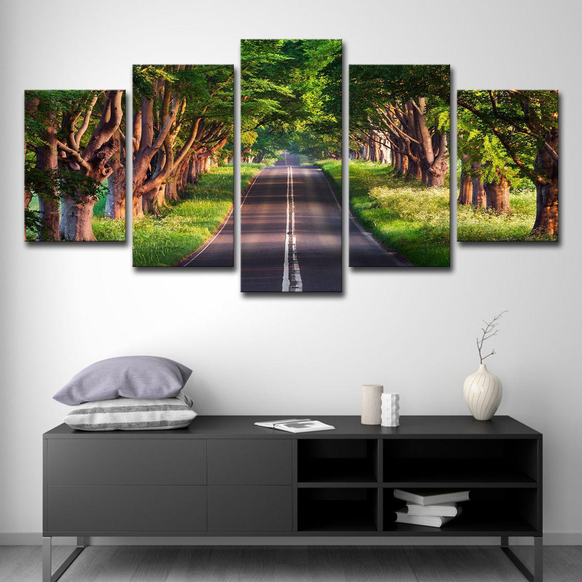 Холст картины HD печатает 5 штук путь в лесистой местности плакат Лесной тропа дерево фотографии домашнего декора гостиной стены искусства
