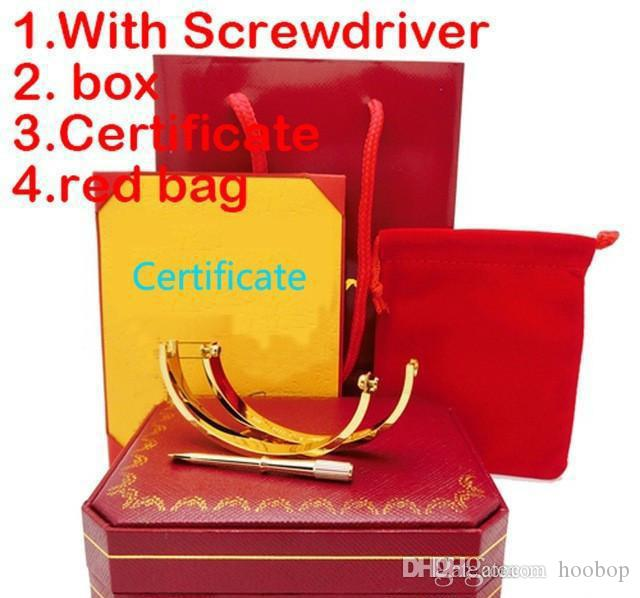 Titanium Steel Love Bracelet silver rose gold Bangles Women Men Screw Screwdriver Bracelet Couple Jewelry with gift set