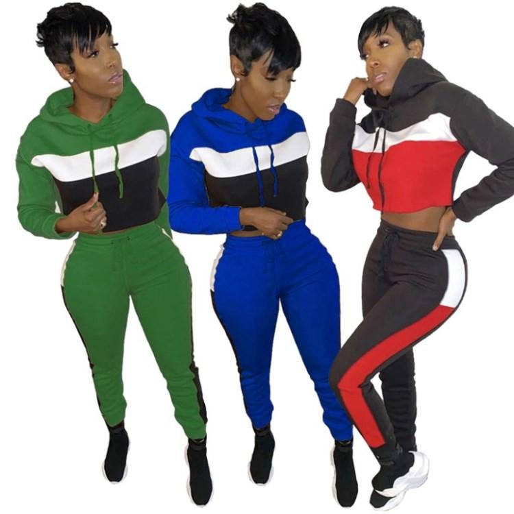 para mujer manga larga 2 piezas conjunto trajes chándal de ropa deportiva con capucha polainas sweatsuit pantalones camisa jersey bodycom de deportes caliente 3189