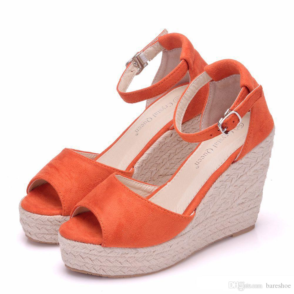 Tamaño extra grande de las mujeres de Bohemia de las sandalias la correa del tobillo de paja Cuñas de la plataforma para los zapatos femeninos Flock tacones altos sandalias del talón de la cubierta