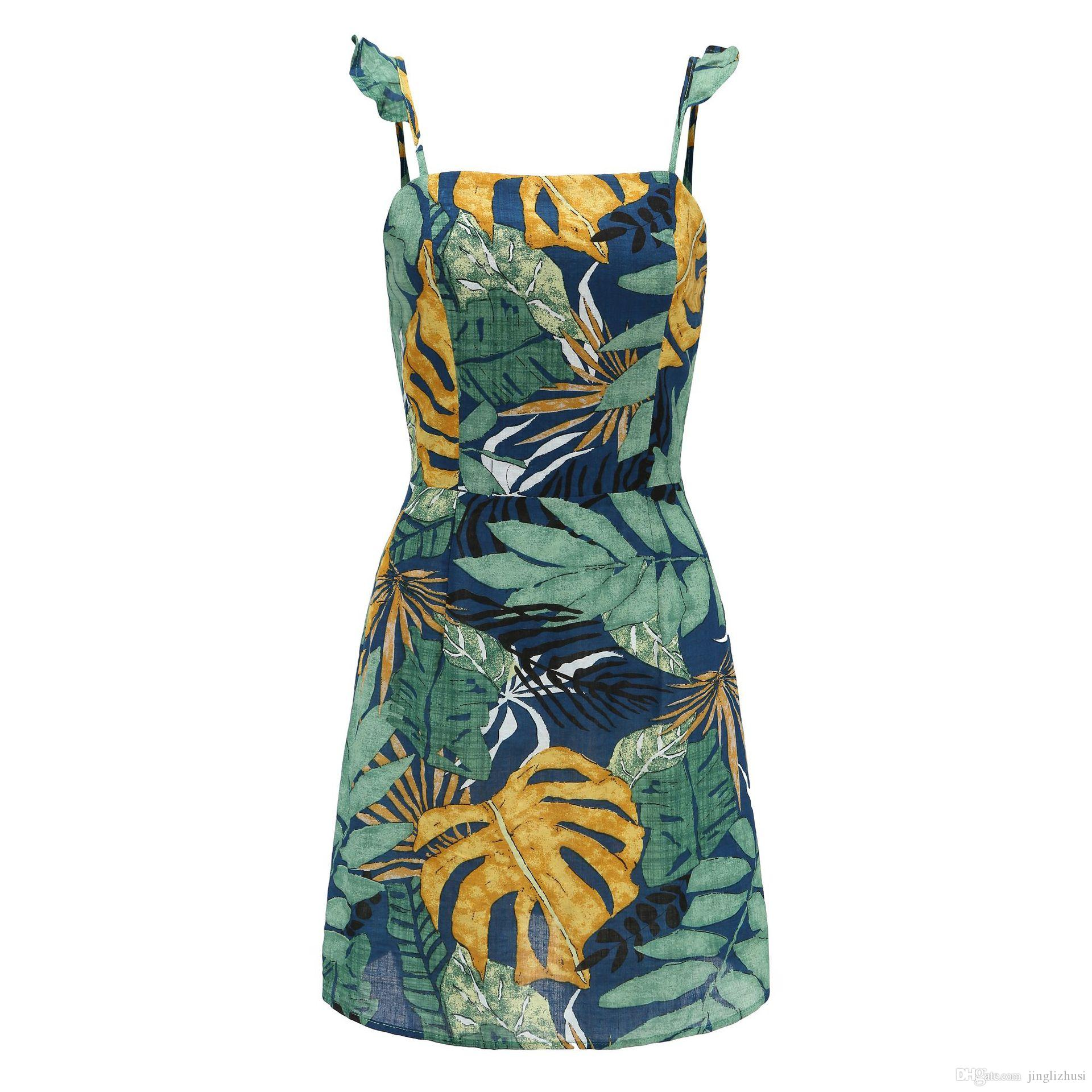Add Summer Strap Print Floral Mini Boho Bohemian Beach Dress Women Sundress Sexy Casual Vintage Ladies Dress
