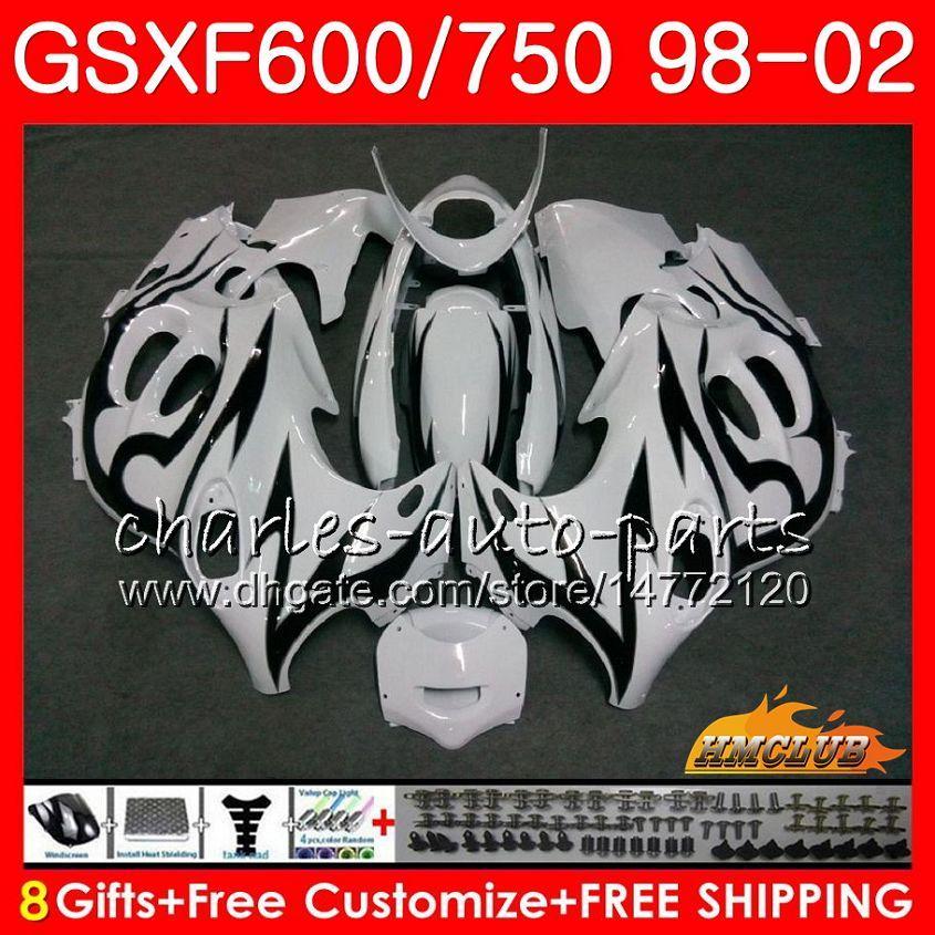 Suzuki Katana GSX600F için Vücut GSXF750 1998 1999 2000 2001 2002 Siyah Alevler 2HC.24 GSXF 750 600 GSX750F GSXF600 98 99 00 01 02 PERSERING Kiti