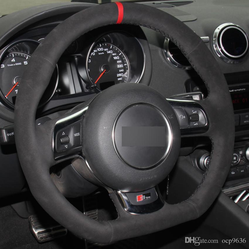 Camurça preta mão-costurado tampa de volante do carro para Audi TT 2008-2013
