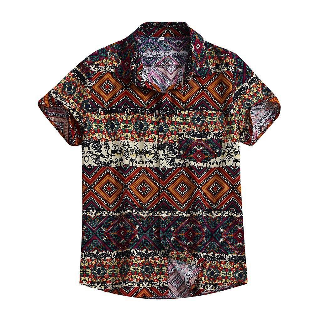 Moda verano ocasional de los hombres holgados hawaiana de la playa del botón de impresión de manga corta retro camisetas de los tops de la blusa de los hombres camisa de 2019 del verano nuevas T200602