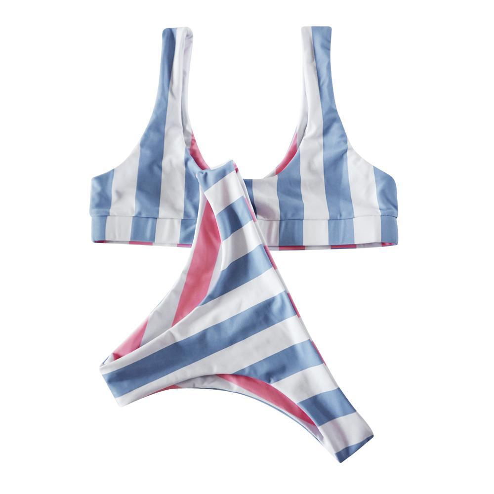 Le donne della banda blu bikini reggiseno del costume da bagno da bagno Beachwear 1-23